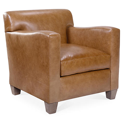 Presley Club Chair, Caramel Leather