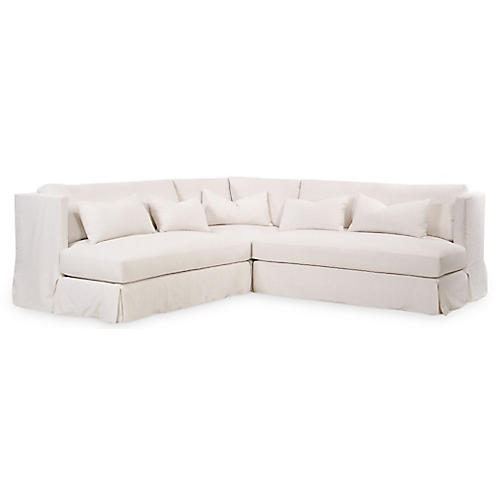 "Bouch 112"" Shelter Sectional, Ivory Linen"