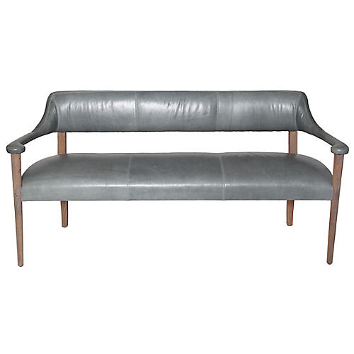 Carrie Bench, Storm Gray/Natural Leather