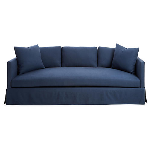 "Cara 84"" Skirted Sofa, Navy Linen"