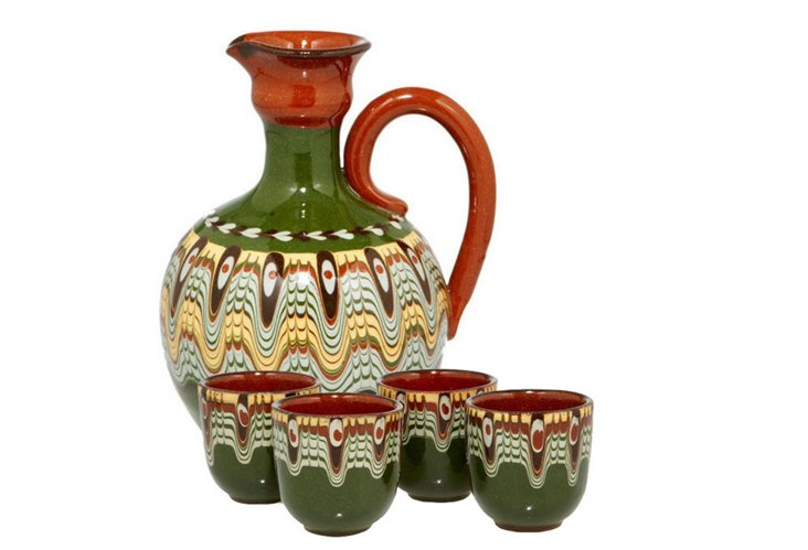 Toasting Pitcher and 4 Cup Set, Green