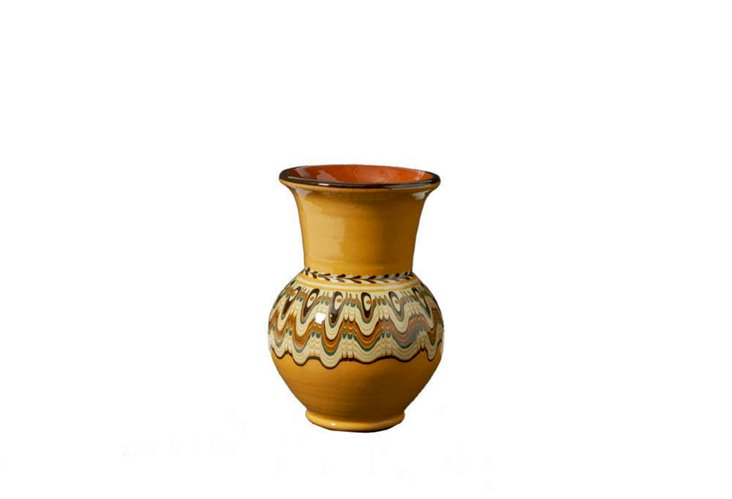 Troyan Round Vase, Amber