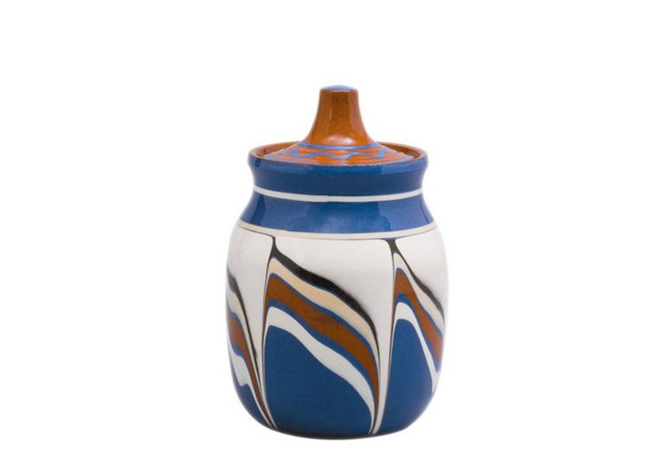 Set of 4 Bairak Lidded Jars, Blue/White