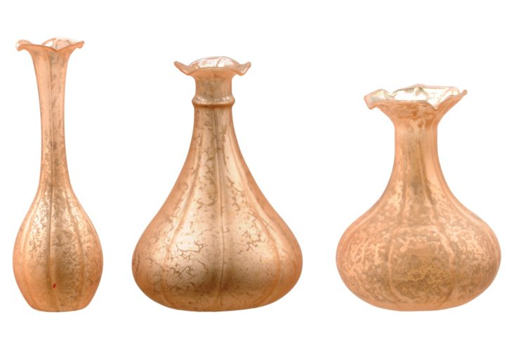 S/3 Frosted Bud Vases, Copper