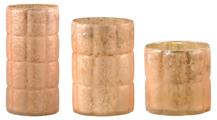Copper Glass Votives, Asst. of 3