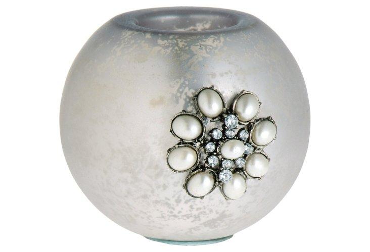 Glass Tea Light, Antique Silver
