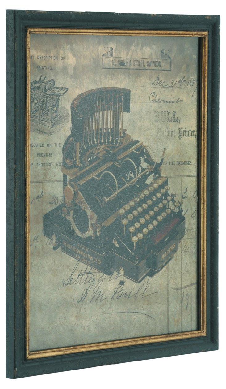 Wood Plaque, Typewriter