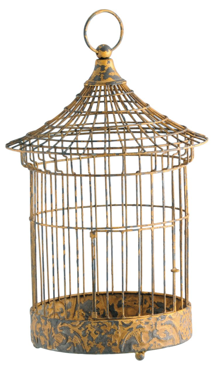 "17"" Iron Cage Lantern, Mustard"