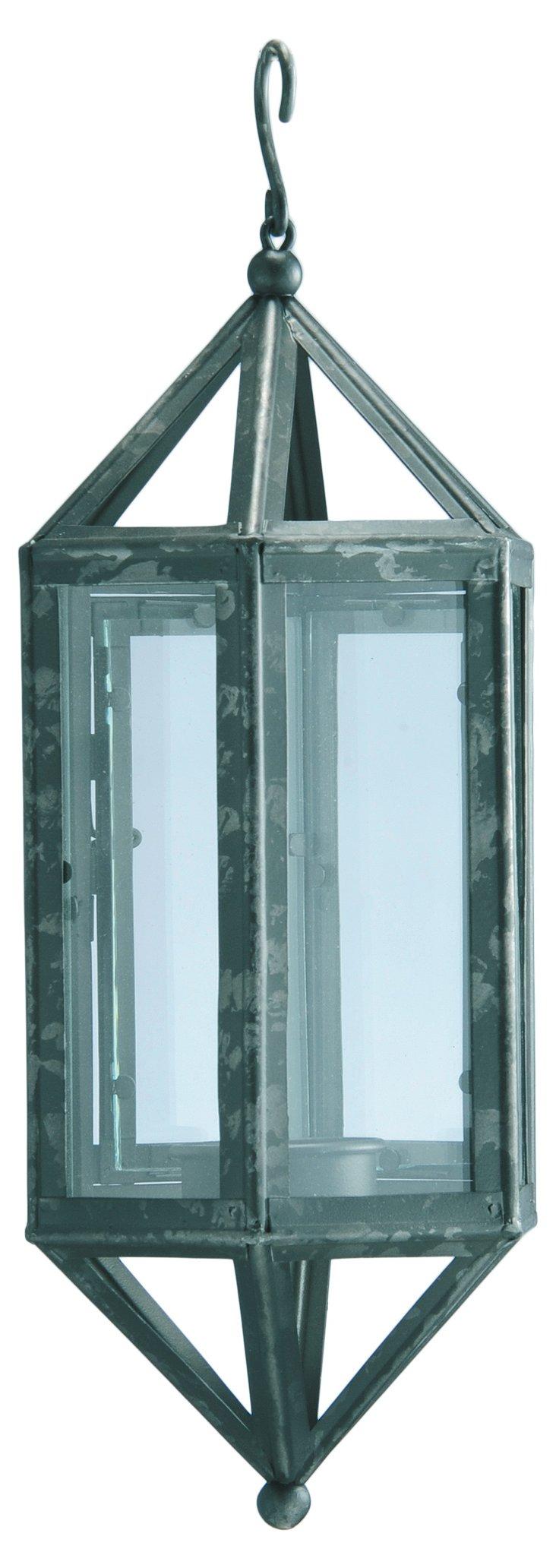 """13"""" Metal & Glass Hanging Lantern"""