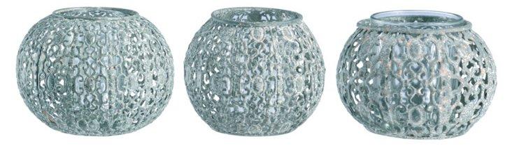 S/3 Iron Sphere Candleholders