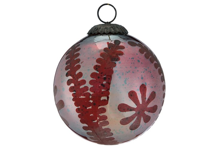 Large Etched Sphere Ornament, Red Silk