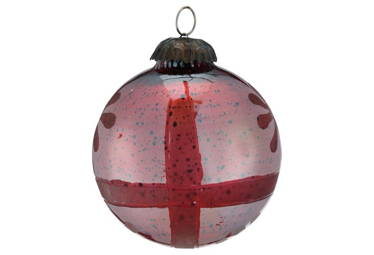 Small Etched Sphere Ornament, Red Silk