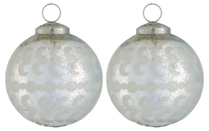 S/2 Etched Glass Egg Ornaments, Small