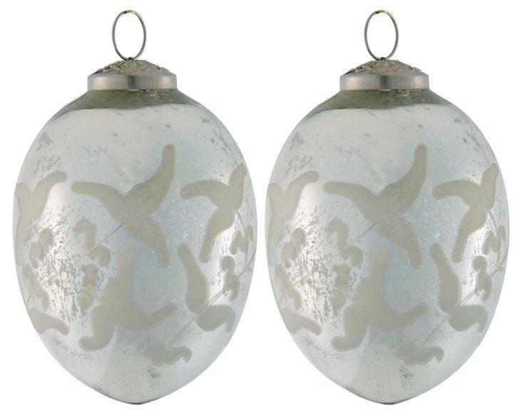 S/2 Etched Glass Egg Ornaments, Medium