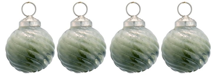 S/4 Swirled Ombre Ornaments, Green