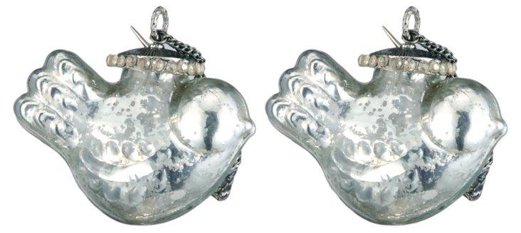 S/2 Glass Bird Ornaments, Silver
