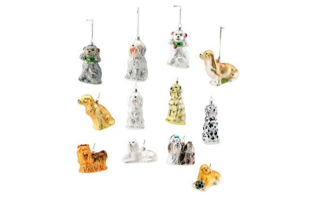 S/12 Glass Dog Ornaments