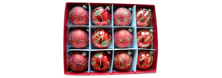 S/12 Glass Ornaments, Red
