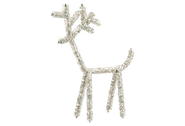 S/2 Beaded Deer Ornaments, Silver