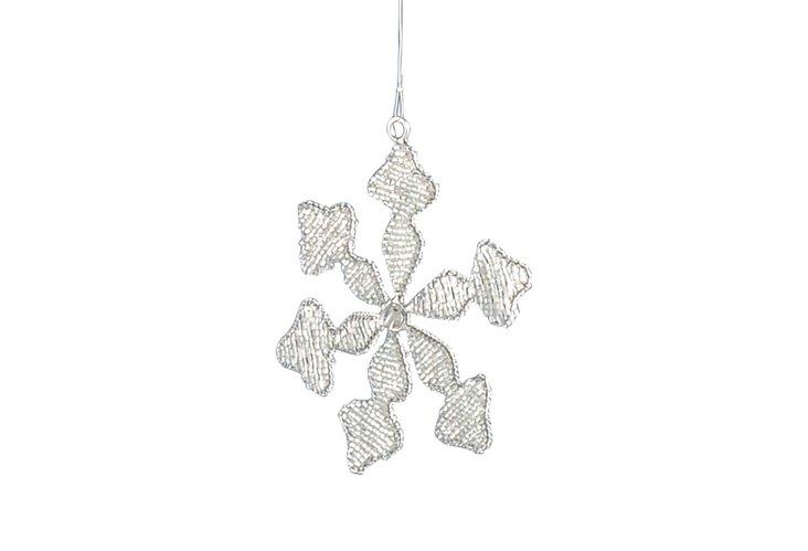 S/3 Beaded Leaf & Snowflake Ornaments