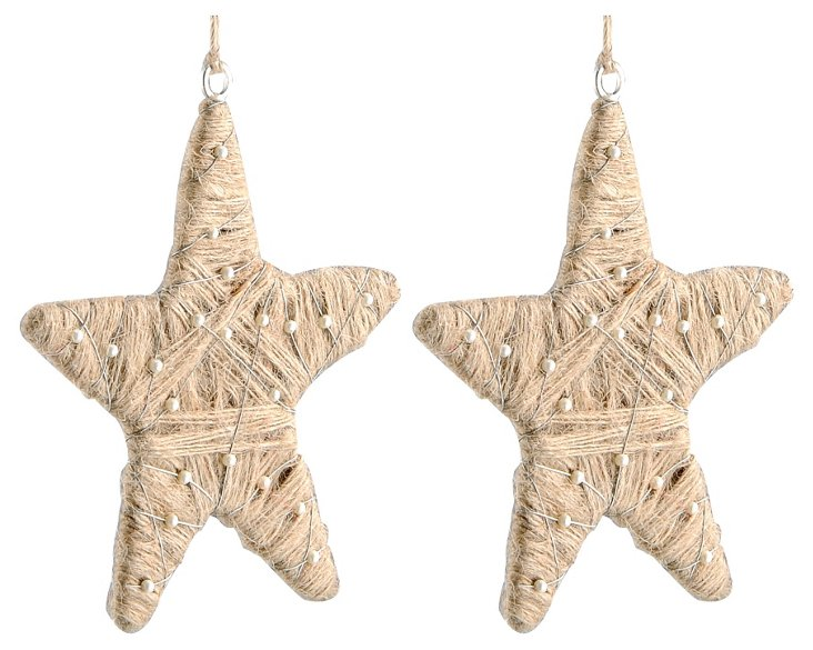 S/2 Jute Wrapped Star Ornaments