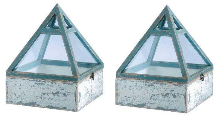 Wood/Glass Pyramid Terrarium, Asst. of 2