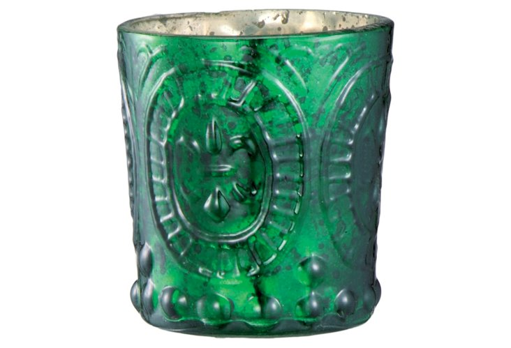 S/4 Antique Glass Votives, Emerald