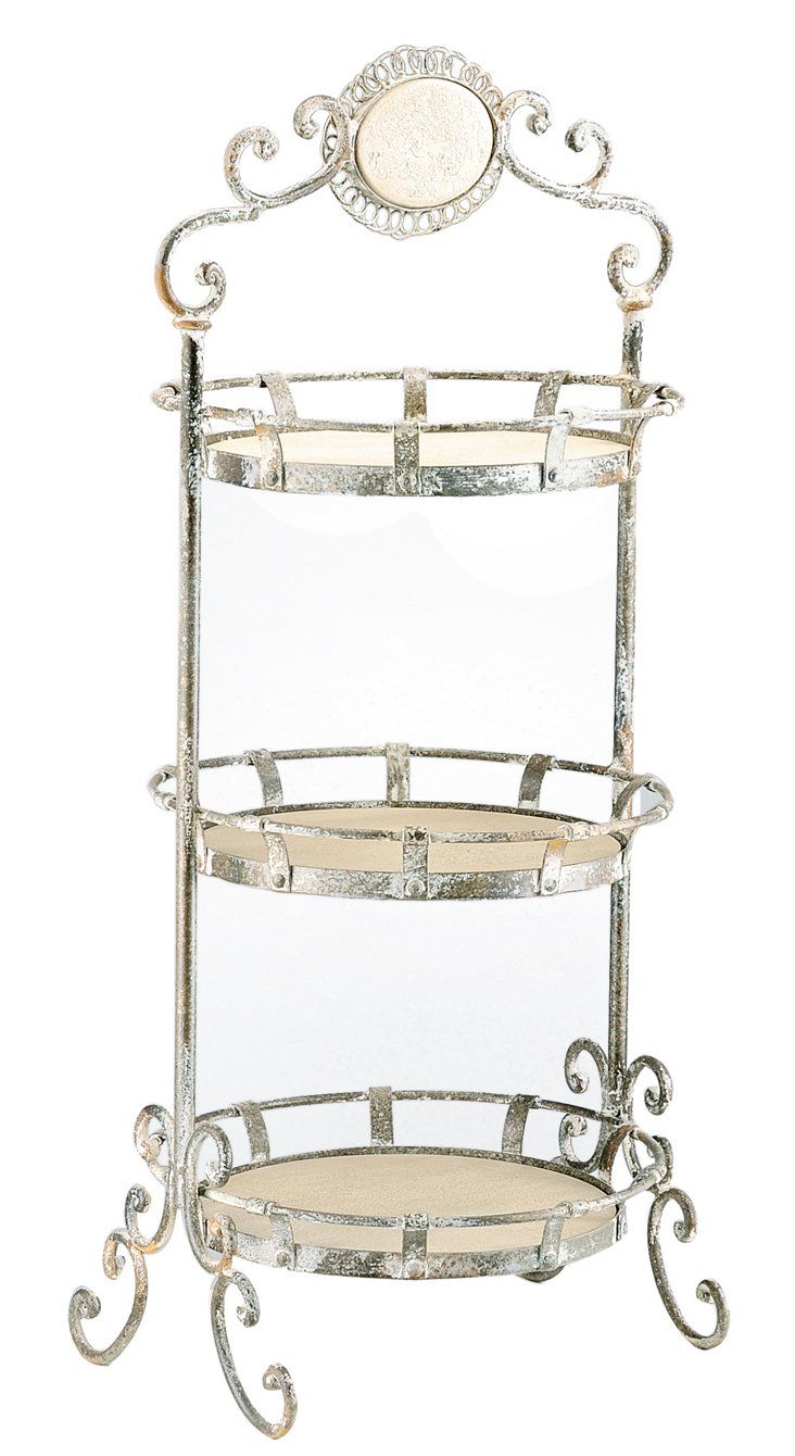 3-Tier Ornate Metal Serving Tray