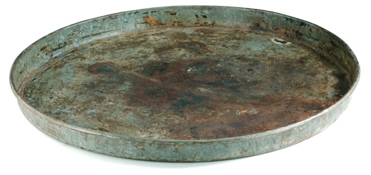 "21"" Round Iron Tray, Gray"