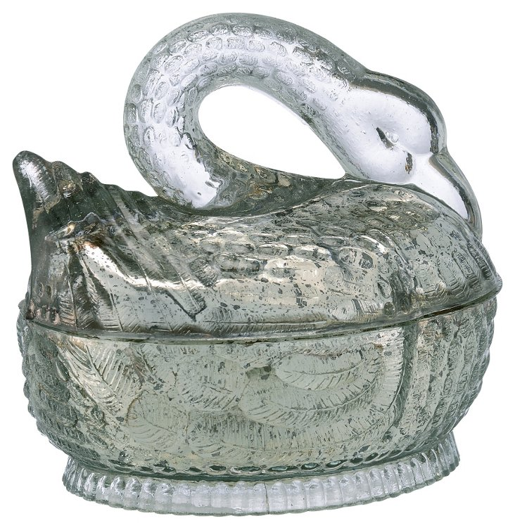 Glass Swan Canister, Silver
