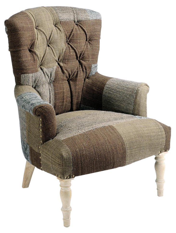 Upholstered Patchwork Chair