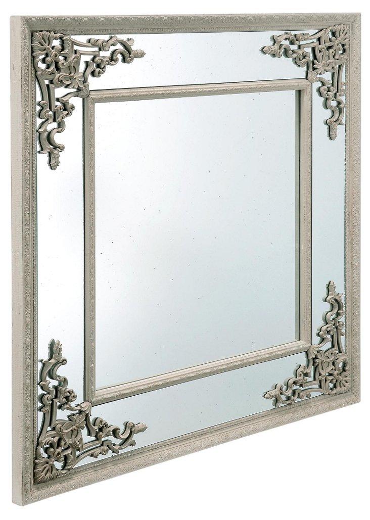 Filigree Mirror, Distressed White