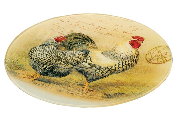 Round Deco Rooster Plate