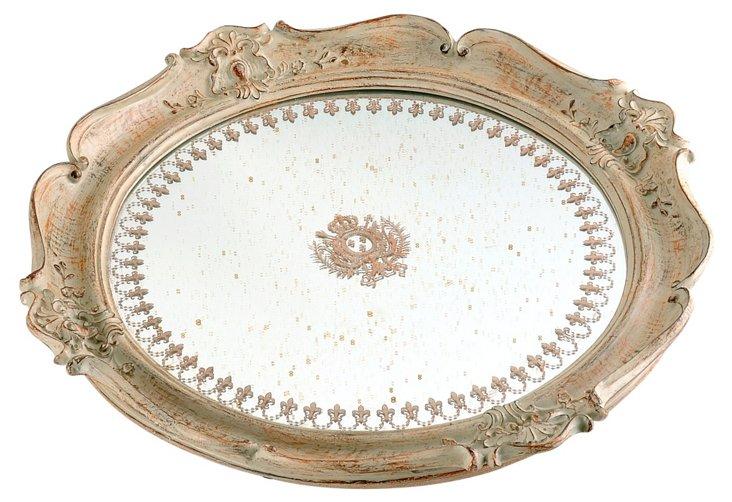 Round Empire Mirrored Tray, Cream