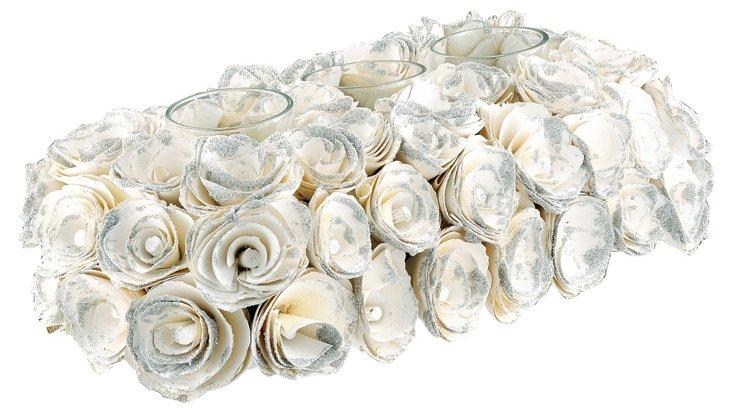 White Roses 3-Votive Holder
