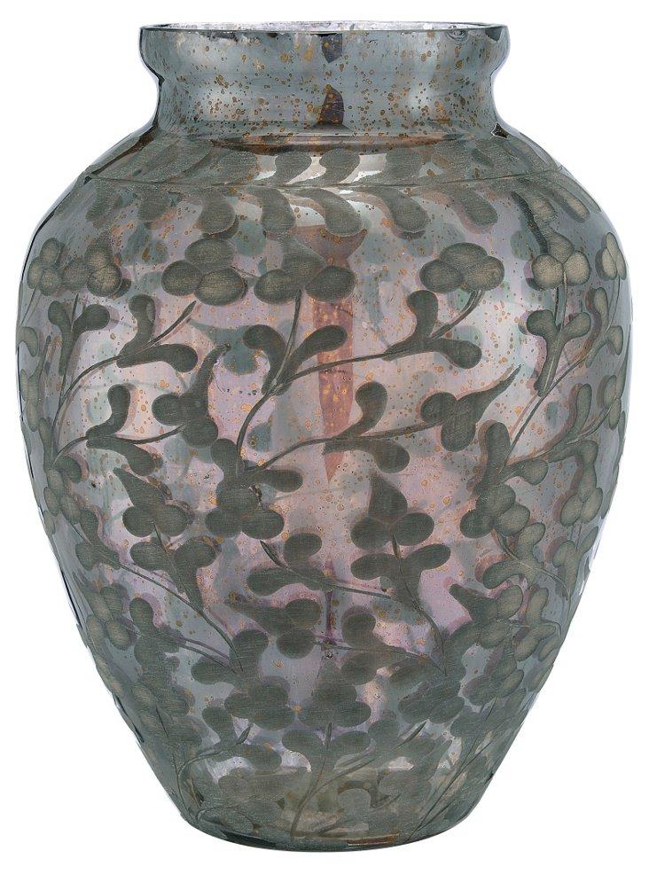 Glass Etched Amphora Vase