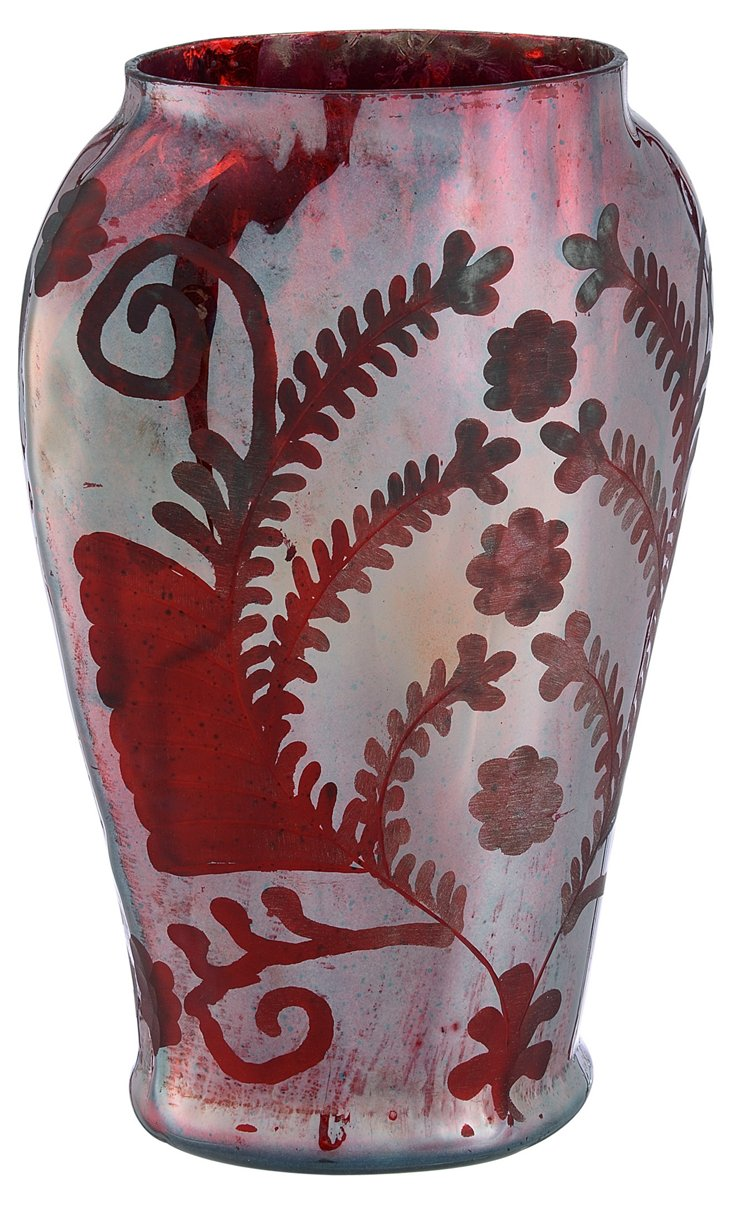 Glass Etched Oval Vase, Silk Red
