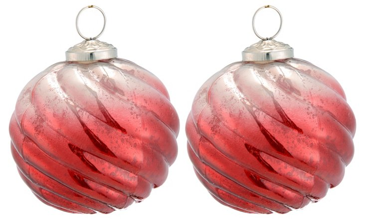 S/2 Glass Ball Ornaments, Large, Red
