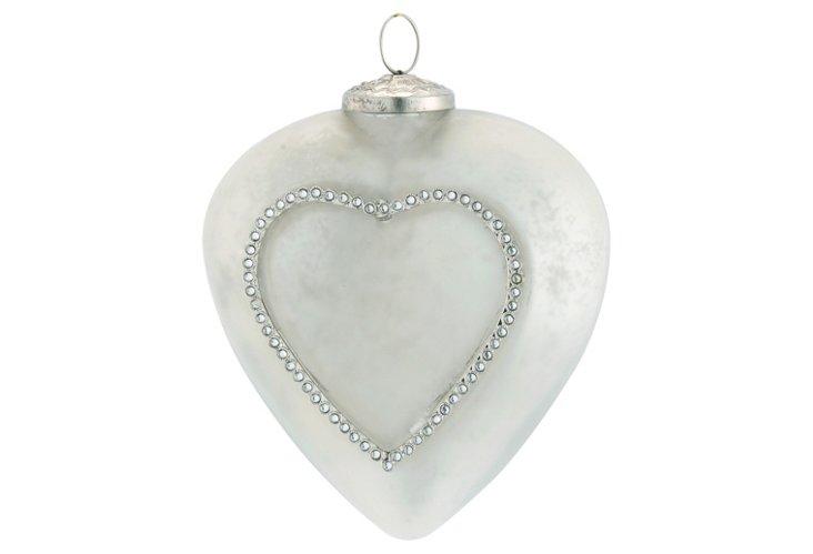 Heart Ornament w/ Pearl Rosette, Large