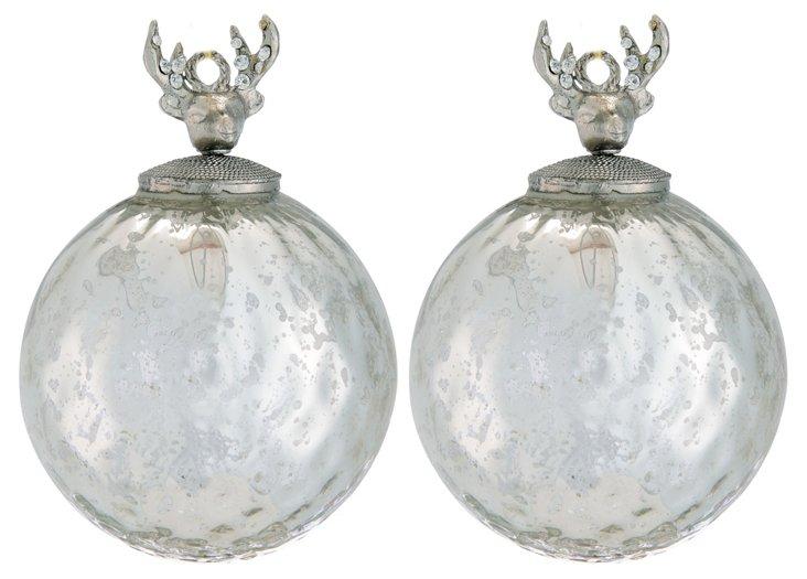S/2 Glass Ornaments w/ Jeweled Deer