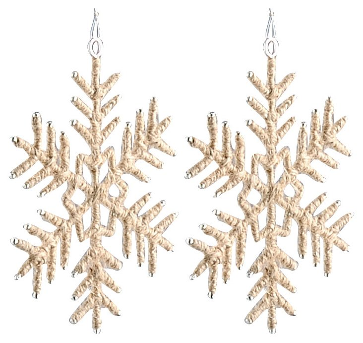 S/2 Jute Snowflake Ornaments & Start