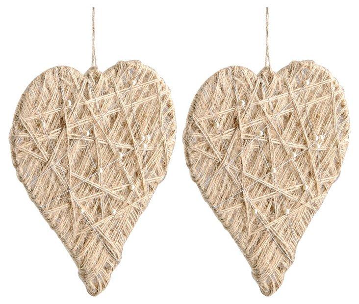 S/2 Jute Woven & Pearl Heart Ornaments