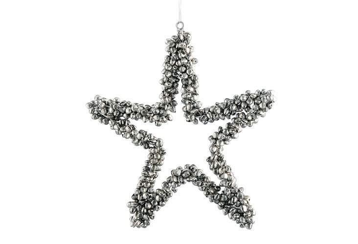 Star Bell Ornament, Large, Silver