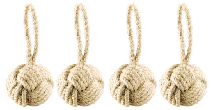S/4 Small Jute Knotted Sphere Ornaments