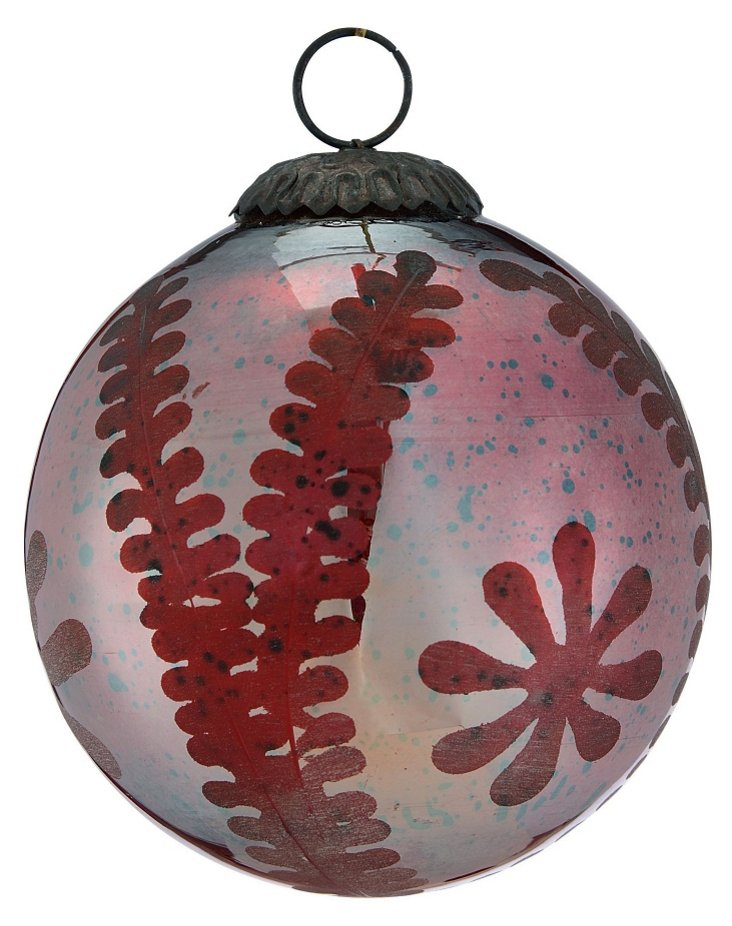 Etched Sphere Ornament, Large, Red Silk