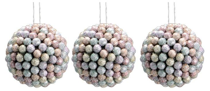"S/3 3"" Glitter Sphere Ornaments"