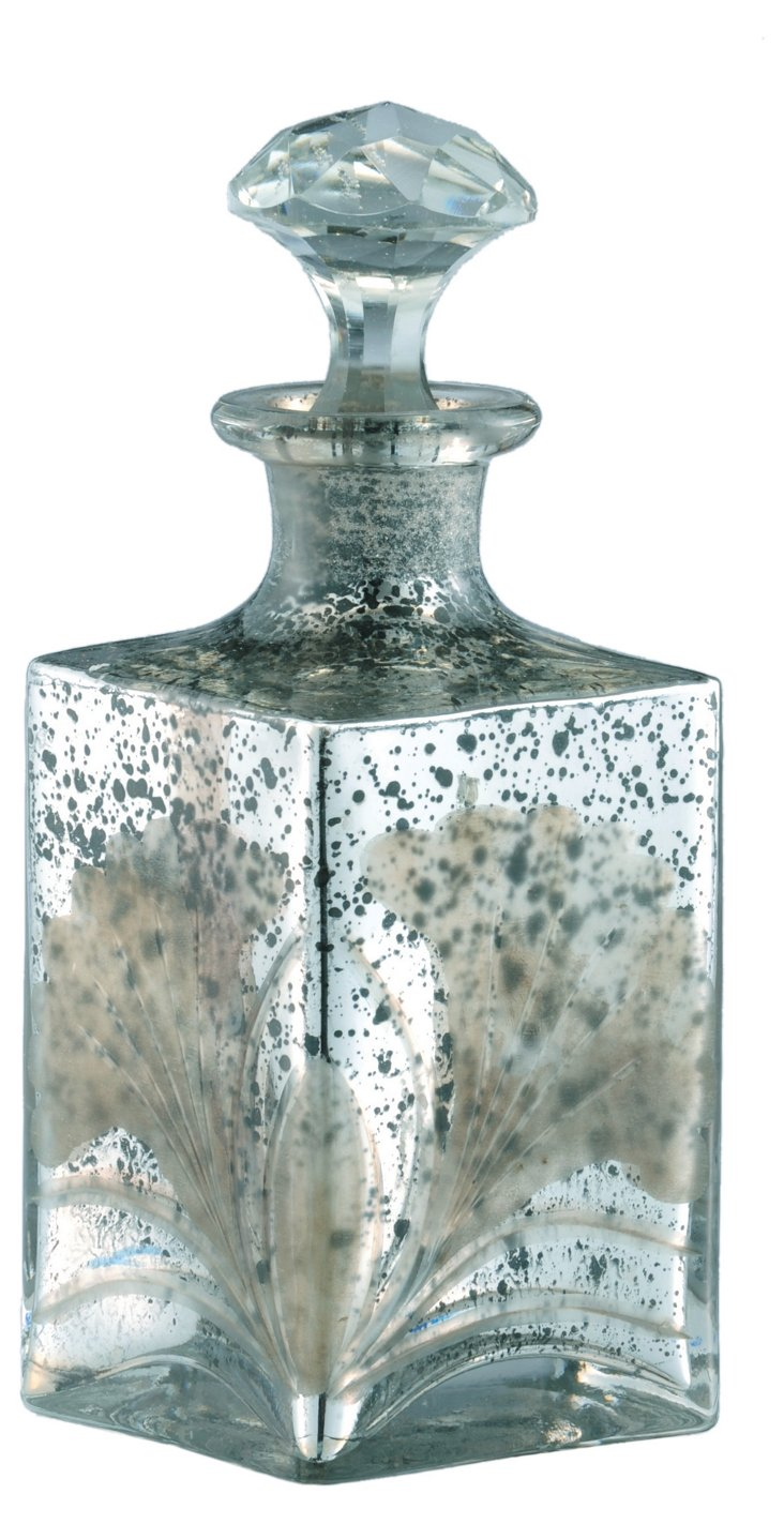 Antiqued Glass Decanter, Silver