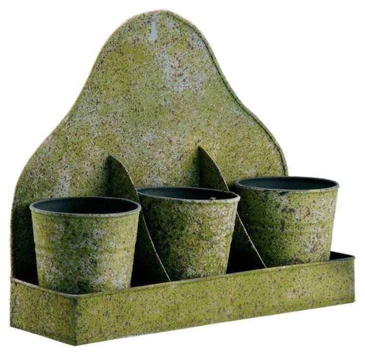S/3 Pots w/ Tray, Mossy Green