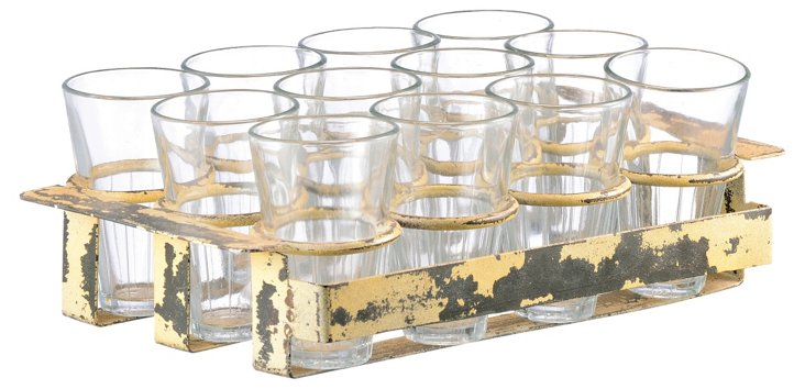 """4"""" Iron and Glass Stand w/ 12 Glasses"""