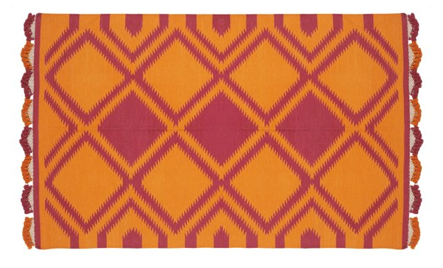 5'x8' Houri Pompom Dhurrie, Orange